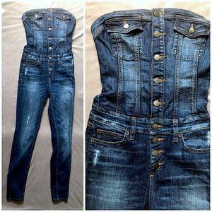 f788440cd Guess Pants - Guess Jeans Dark Safari Denim Bustier Jumpsuit